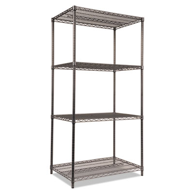 Alera Wire Shelving Starter Kit, Four-Shelf, 36w x 24d x 72h, Black Anthracite (ALESW503624BA)