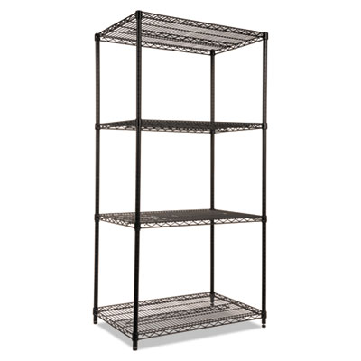 Alera NSF Certified Industrial 4-Shelf Wire Shelving Kit, 36w x 24d x 72h, Black (ALESW503624BL)