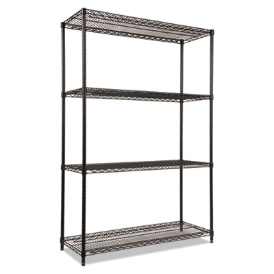 Alera NSF Certified Industrial 4-Shelf Wire Shelving Kit, 48w x 18d x 72h, Black (ALESW504818BL)