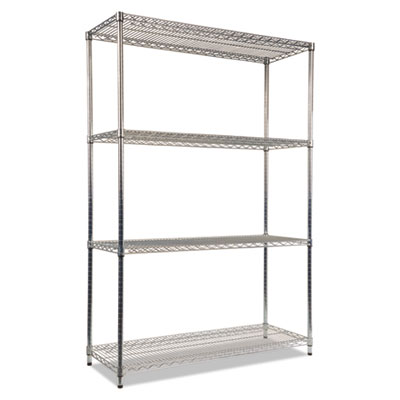Alera NSF Certified Industrial 4-Shelf Wire Shelving Kit, 48w x 18d x 72h, Silver (ALESW504818SR)