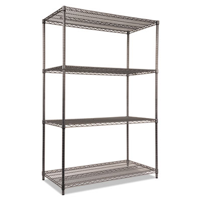 Alera Wire Shelving Starter Kit, Four-Shelf, 48w x 24d x 72h, Black Anthracite (ALESW504824BA)