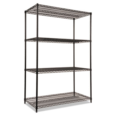 Alera NSF Certified Industrial 4-Shelf Wire Shelving Kit, 48w x 24d x 72h, Black (ALESW504824BL)