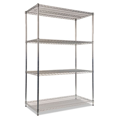 Alera NSF Certified Industrial 4-Shelf Wire Shelving Kit, 48w x 24d x 72h, Silver (ALESW504824SR)