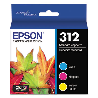 Epson T312923-S (312XL) Claria High-Yield Ink, 360 Page-Yield, Cyan/Magenta/Yellow