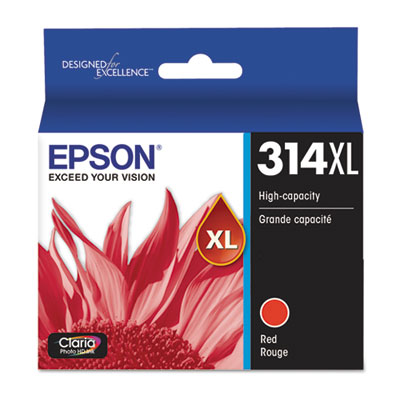 Epson T314XL820-S (314XL) Claria High-Yield Ink, 830 Page-Yield, Red