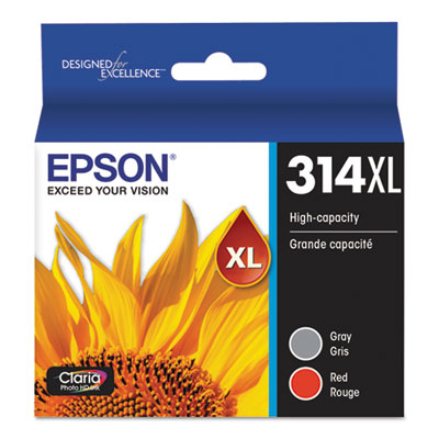 Epson T314XL922-S (314XL) Claria High-Yield Ink, 830 Page-Yield, Gray/Red