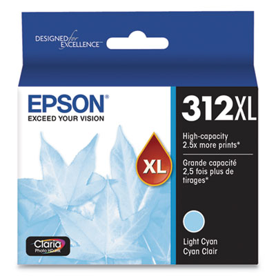 Epson T312XL520-S (312XL) Claria High-Yield Ink, 830 Page-Yield, Light Cyan