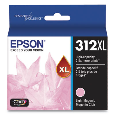 Epson T312XL620-S (312XL) Claria High-Yield Ink, 830 Page-Yield, Light Magenta