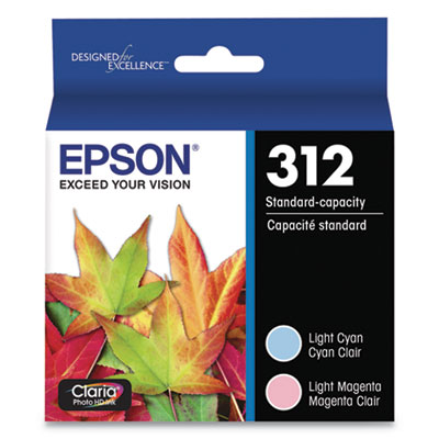 Epson T312922-S (312) Claria Ink, 360 Page-Yield, Light Cyan/Light Magenta