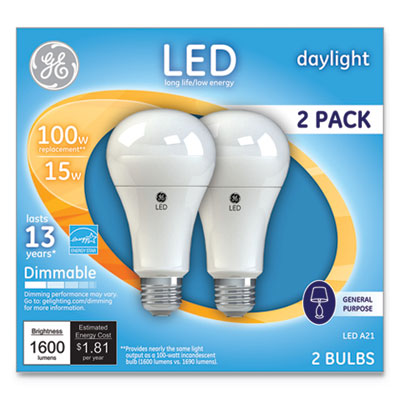 GE LED Daylight A21 Dimmable Light Bulb, 15 W, 2/Pack (66133)