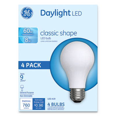 GE Classic LED Daylight Non-Dim A19 Light Bulb, 8 W, 4/Pack (99192)