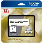 "Brother TZe Premium Laminated Tape, 0.94"" x 26.2 ft, Black on White (TZEM251)"