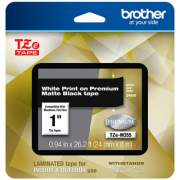 "Brother TZe Premium Laminated Tape, 0.94"" x 26.2 ft, White on Black (TZEM355)"