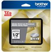 "Brother TZe Premium Laminated Tape, 0.47"" x 26.2 ft, White on Gray (TZEML35)"