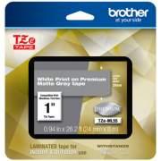 "Brother TZe Premium Laminated Tape, 0.94"" x 26.2 ft, White on Gray (TZEML55)"