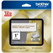 "Brother TZe Premium Laminated Tape, 0.94"" x 26.2 ft, Gold on White (TZEPR254)"