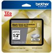"Brother TZe Premium Laminated Tape, 0.47"" x 26.2 ft, Black on Gold (TZEPR831)"