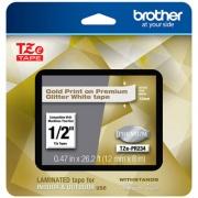 "Brother TZe Premium Laminated Tape, 0.94"" x 26.2 ft, Gold on White (TZEPR234)"