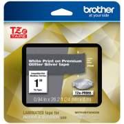 "Brother TZe Premium Laminated Tape, 0.94"" x 26.2 ft, White on Silver (TZEPR955)"
