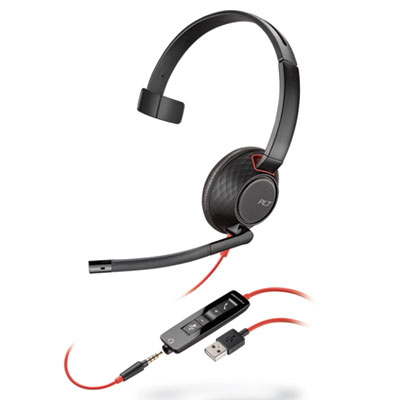 Plantronics Blackwire 5210, Monaural, Over The Head Headset (207577-01)