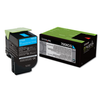 Lexmark 70C0XCG (700XCG) Return Program Extra High-Yield Toner, Cyan, TAA Compliant