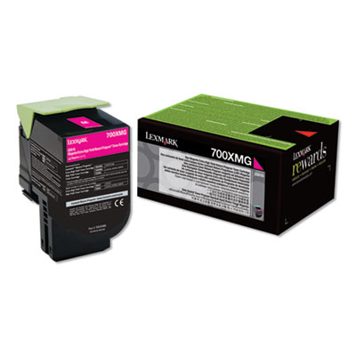 Lexmark 70C0XMG (700XMG) Return Program Extra High-Yield Toner, Magenta, TAA Compliant