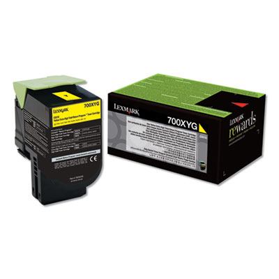 Lexmark 70C0XYG (700XYG) Return Program Extra High-Yield Toner, Yellow, TAA Compliant