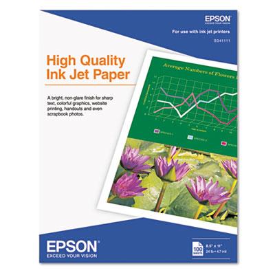 Epson High Quality Inkjet Paper, 4.7 mil, 8.5 x 11, Matte White, 100/Pack (S041111)