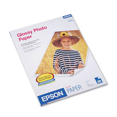 Epson Glossy Photo Paper, 9.4 mil, 8.5 x 11, Glossy White, 20/Pack (S041141)