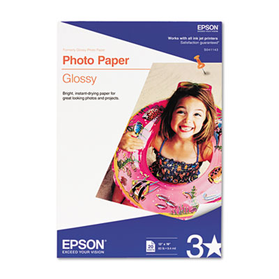 Epson Glossy Photo Paper, 9.4 mil, 13 x 19, Glossy White, 20/Pack (S041143)