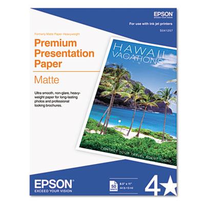 Epson Premium Matte Presentation Paper, 9 mil, 8.5 x 11, Matte Bright White, 50/Pack (S041257)