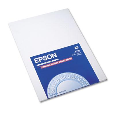 Epson Premium Photo Paper, 10.4 mil, 11.75 x 16.5, High-Gloss White, 20/Pack (S041288)