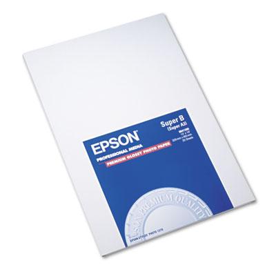 Epson Premium Photo Paper, 10.4 mil, 13 x 19, High-Gloss White, 20/Pack (S041289)