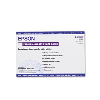 Epson Premium Photo Paper, 10.4 mil, 11 x 17, High-Gloss White, 20/Pack (S041290)