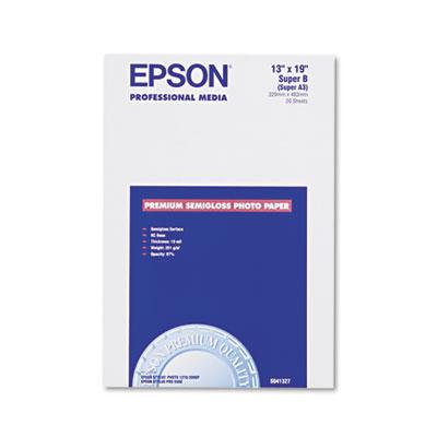 Epson Premium Photo Paper, 10.4 mil, 13 x 19, Semi-Gloss White, 20/Pack (S041327)