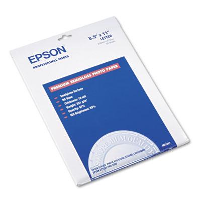 Epson Premium Photo Paper, 10.4 mil, 8.5 x 11, Semi-Gloss White, 20/Pack (S041331)