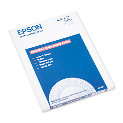 Epson Ultra Premium Photo Paper, 10 mil, 8.5 x 11, Luster White, 50/Pack (S041405)
