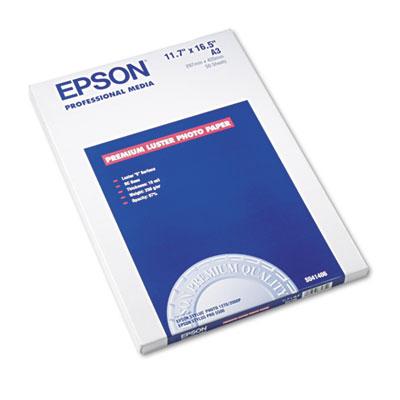 Epson Ultra Premium Photo Paper, 10 mil, 11.75 x 16.5, Luster White, 50/Pack (S041406)