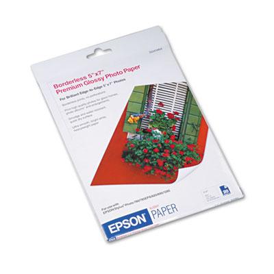 Epson Premium Photo Paper, 10.4 mil, 5 x 7, High-Gloss White, 20/Pack (S041464)