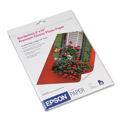 Epson Premium Photo Paper, 10.4 mil, 8 x 10, High-Gloss Bright White, 20/Pack (S041465)