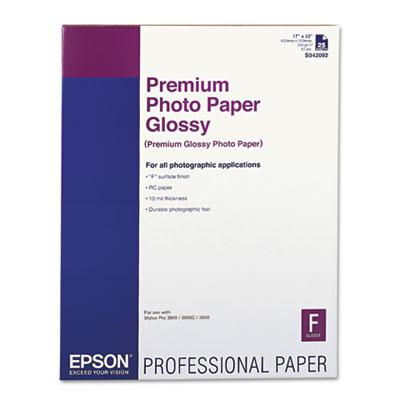 Epson Premium Photo Paper, 10.4 mil, 17 x 22, High-Gloss White, 25/Pack (S042092)