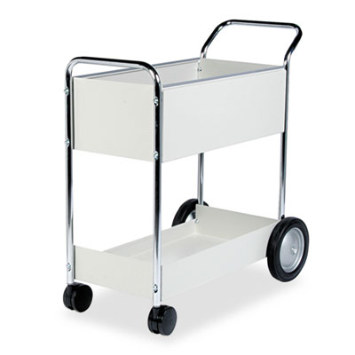 Fellowes Steel Mail Cart, 150-Folder Capacity, 20w x 40.5d x 39h, Dove Gray (40922)