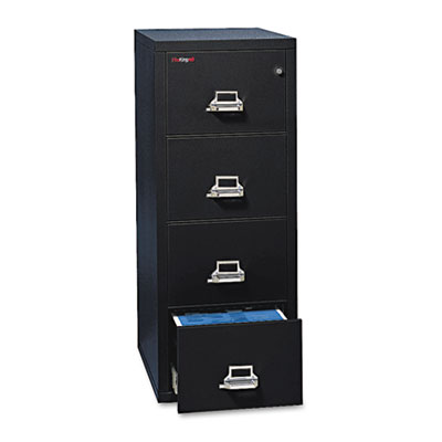 FireKing Four-Drawer Vertical File, 17.75w x 31.56d x 52.75h, UL 350 for Fire, Letter, Black (4-1831-CBL)