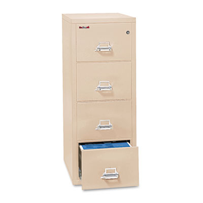 FireKing Four-Drawer Vertical File, 20.81w x 25d x 52.75h, UL 350 for Fire, Legal, Parchment (4-2125-CPA)