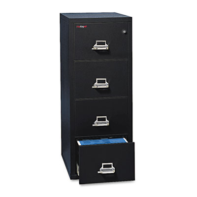 FireKing Four-Drawer Vertical File, 20.81w x 31.56d x 52.75h, UL 350 for Fire, Legal, Black (4-2131-CBL)