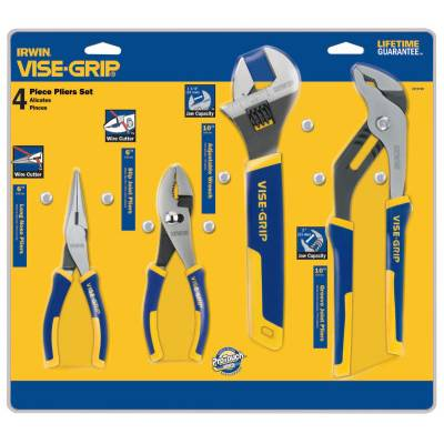 Stanley Irwin Vise-Grip 4 Pc. ProPlier Sets - Long Nose/Slip Joint/Adjustable Wrench/Groove Joint (2078705)