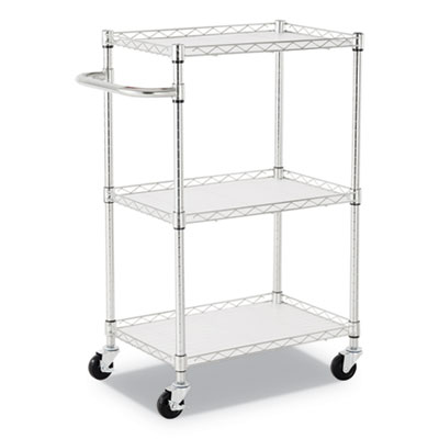 Alera 3-Shelf Wire Cart with Liners, 24w x 16d x 39h, Silver, 500-lb Capacity (ALESW322416SR)
