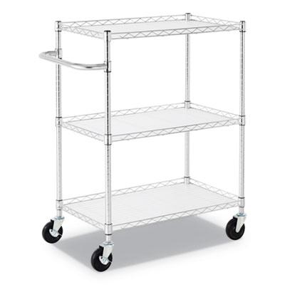 Alera 3-Shelf Wire Cart with Liners, 34.5w x 18d x 40h, Silver, 600-lb Capacity (ALESW333018SR)