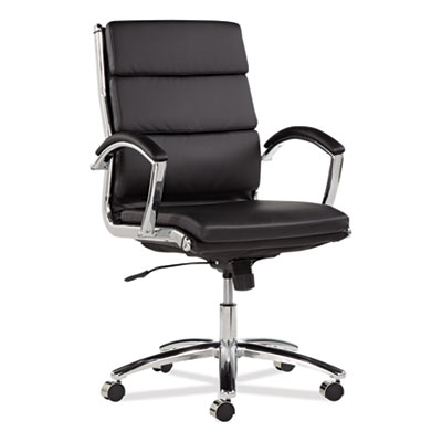 Alera Neratoli Mid-Back Slim Profile Chair, Supports up to 275 lbs., Black Seat/Black Back, Chrome Base (ALENR4219)