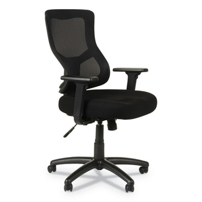 Alera Elusion II Series Mesh Mid-Back Synchro with Seat Slide Chair, Supports up to 275 lbs., Black Seat/Back, Black Base (ALEELT4214S)